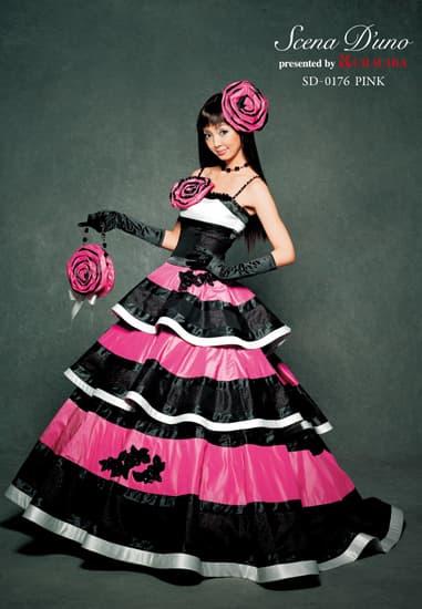 黒/ピンク ボーダー ペプラムティアード