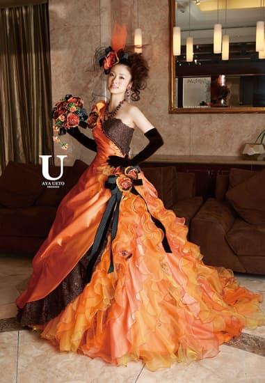 オレンジ/ブラウングリッターレース カールフリル[U AYA UETO DRESSES]