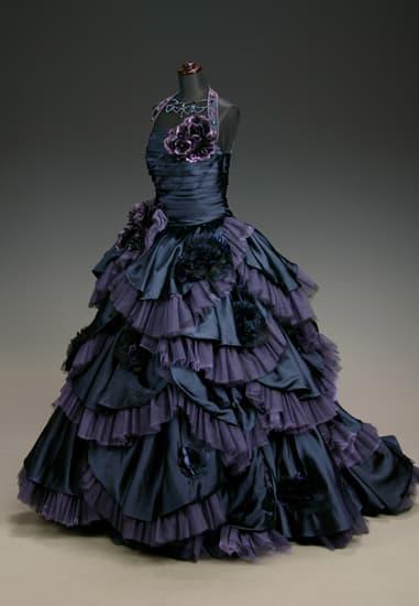 ディープネイビーパープル サテンチュールティアード[Original Dress]