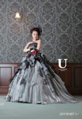 シルバーグレー 黒グリッターレース ストーンビスチェ[U AYA UETO DRESSES]