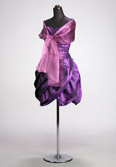 紫タフタムジ縦ティアードバルーン風ミニバックレースアップ