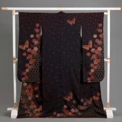 黒/紫 桜花散らし 籠目に蝶