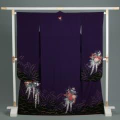 紫/黒 露芝花車に蝶