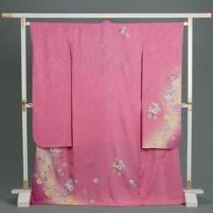 ピンク 地紋入り 桜光彩