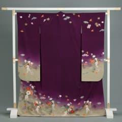 紫/淡緑 暈し 縮緬 花篭