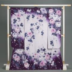 白/紫 花びら地 乱菊枝垂八重桜文