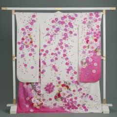 白 小花地紋 枝垂桜 花束手毬