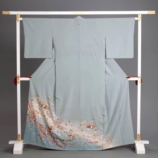 訪問着 ブルーグレー 飾り縫紋 大熨斗 地紙舞