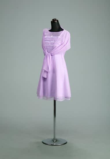薄紫 シフォンヨークシースルー小花半袖 *ストール付き