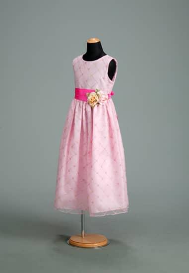 ピンクオーガンミシンステッチコサージュドレス