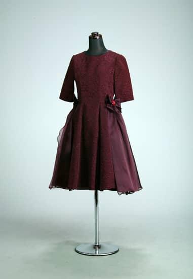 ボルドー ふくれジャガード5分袖 *オーバースカート付き