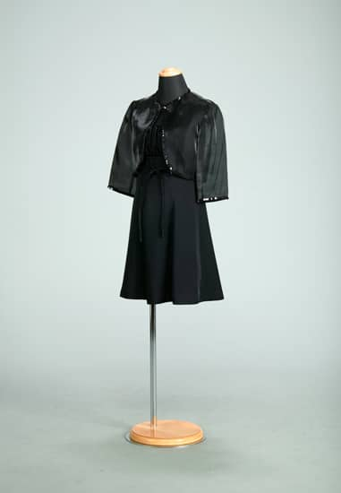 黒サテンムジヨークドレープスリップドレス *黒フィルム地ボレロ付き