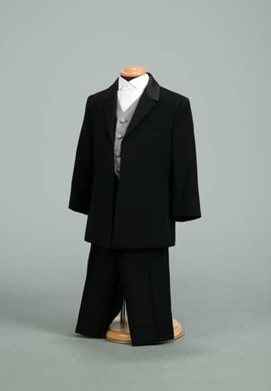 3P 黒ムジフロックコート *シルバーベスト・黒ムジロングパンツ付き