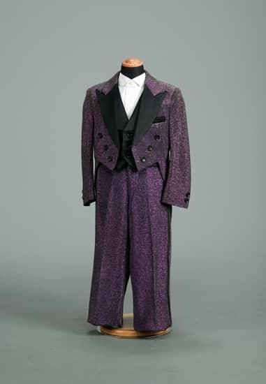3P 紫ラメBコンビ *黒ムジ衿付きベスト・紫ラメ黒ライン入りパンツ付き