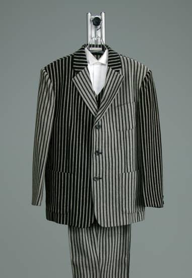 3P グレー/黒コンビストライプ *ベスト&パンツ付き 裾フリー