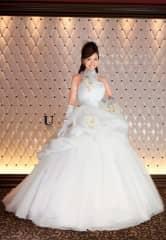 白チュールバルーン カラーコサージュ[U AYA UETO DRESSES]
