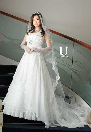 オフ コードチュールパール タックビスチェ エンパイア ホルターリボンシフォンオーバードレス[U AYA UETO DRESSES]