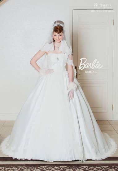 オフ ミカドサテンスパンレースフロントプリーツ[Barbie BRIDAL]