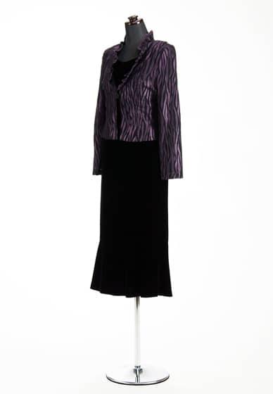 黒ベルベ ペプラムマーメイド ヘム & 黒/紫 ゼブラ風 フリルカラーJK 1ツ釦