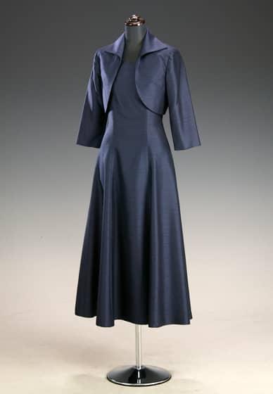 紺シャンタン Aラインアンクル &紺シャンタン 衿付 七分袖ボレロ