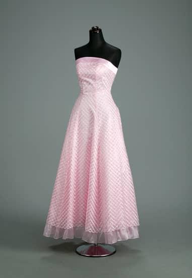 ピンク格子ビスチェAライン裾オーガンフリル *ストール付