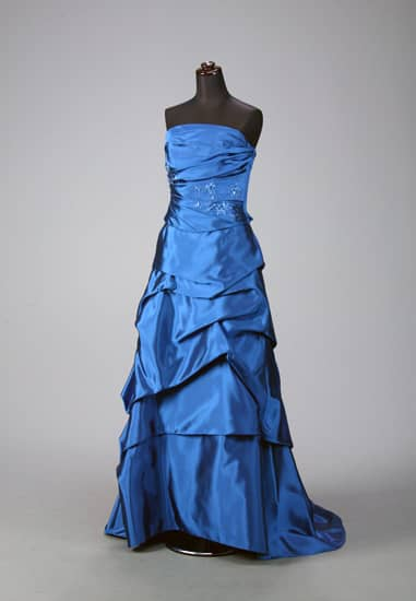 青ドレープビスチェビ-ズ使いドレープトレーン *ビスチェ&スカート2点セット