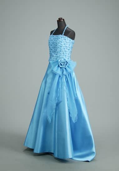 青フラワービスチェ フレアーパニエロング セパレートドレス