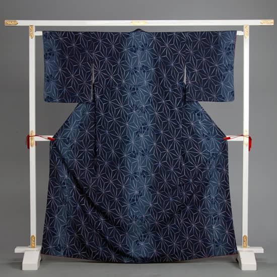 小紋 藍色 麻の葉