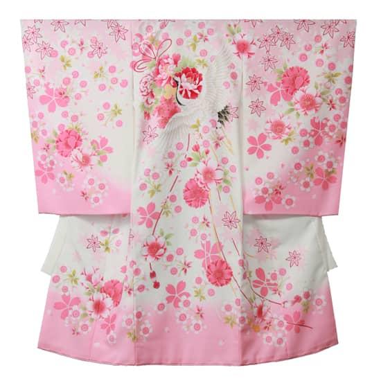 お宮参りお祝着 女児用 白/ピンク 花結び飛び鶴