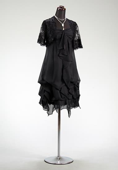 黒ラメシフォン チーフ裾バルーン ストーンネック