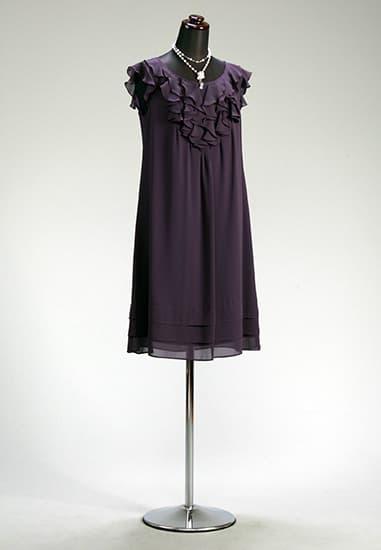 花紫シフォンフリルフレンチAライン