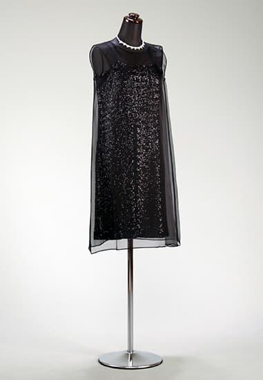黒プチスパンキャミ/黒シルクオーガンオーバードレス