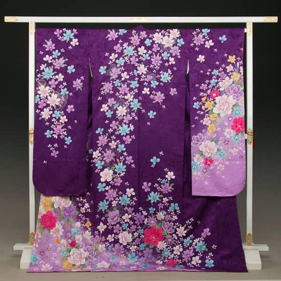 紫 牡丹地紋 野桜吹雪