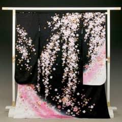 黒 桜地紋 枝垂桜に手鞠