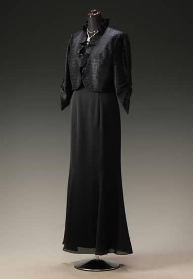 黒サテンマーメイドドレス & 黒シャンタンギャザースリーブ