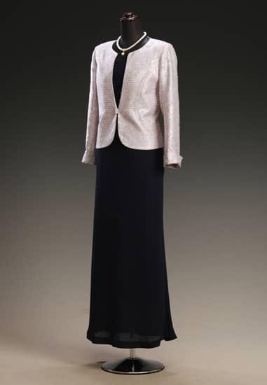 黒サテンマーメイドドレス & シルバーピンクジャカードシルバーストーン
