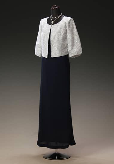 黒サテンマーメイドドレス & シルバー花レースパフ七分袖