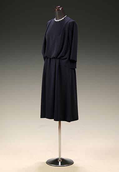 紺ジョーゼット ブラウジング 6分袖