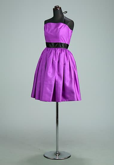 紫タフタ ビスチェ風 ギャザーパニエ黒サテンリボン