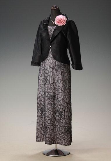 薄紫地 黒チュールノセ ローズコードオパール & 黒シャンタン タックカラー
