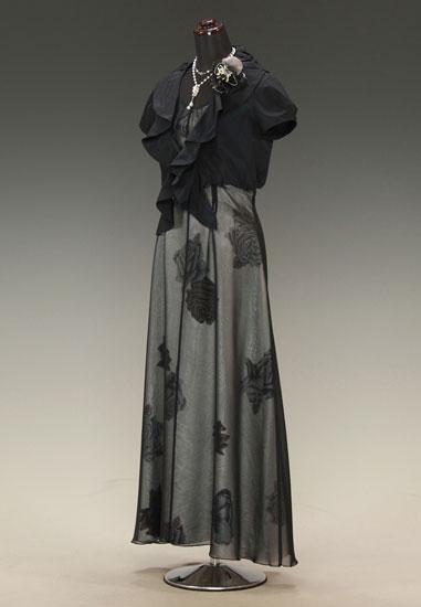 黒 バラシースルー アンクル & ネイビーブラック タフタバルーンスカーフ