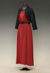赤V胸スカシ 黒グログラン リボンギャザー MG & 黒スパンレース 長袖
