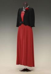 赤V胸スカシ 黒グログラン リボンギャザー MG & 黒ペプラムジャケット