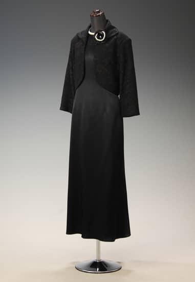 黒サテン胸ラメレース ソフトAライン & 黒レース衿付 七分袖