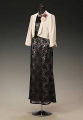 黒ラメレース ベージュサテンのせ シースルーフレンチ & ベージュシャンタン ショールカラー七分袖