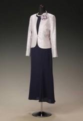紺紫 ジョーゼット マーメイドアンクル & シルバーピンクジャガード SIストーン