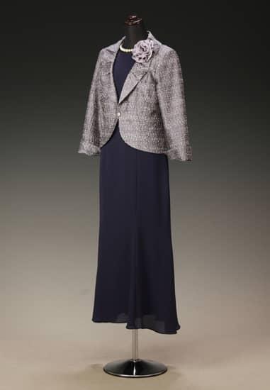 紺紫 ジョーゼット マーメイドアンクル & シルバーパープルラメツィードタックショールカラー