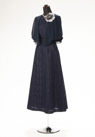 紺フラワーカットレース Aライン アンクル & 紺シフォーン5分袖 ショールカラー