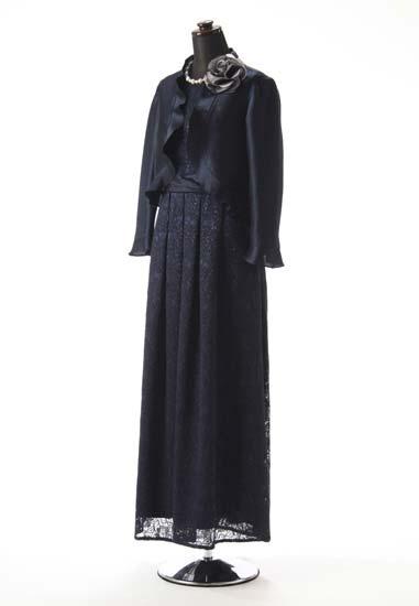 紺レース 紺シャンタンのせ タックロング & 紺シースルー シャンタン フリル