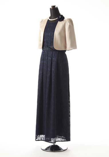 紺レース 紺シャンタンのせ タックロング & ベージュ サテンノーカラー5分袖